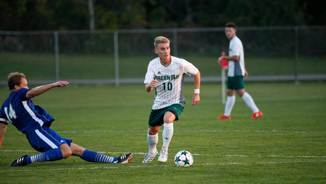 Former Green Bay Preble star Audi Jepson was named the Horizon League's offensive player of the year this season while helping the University of Wisconsin-Green Bay win a conference title.
