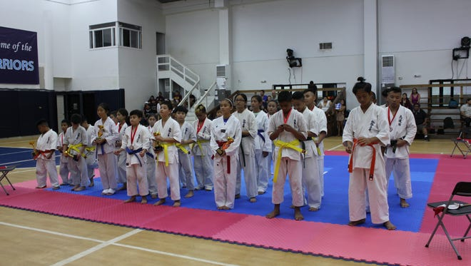 Youths stand ready at the World Karate Organization (WKO) Shinkyokushinkai Karate Guam on Nov. 11, 2017.