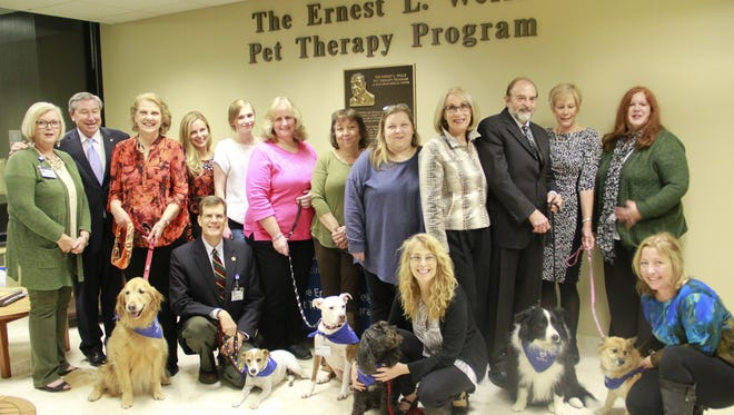 Volunteers from Hunterdon Medical Center's Ernest L. Wells Pet Therapy Program gathered for the fourth annual Pet Therapy Recognition Dinner, sponsored by donor Pamela Wells.