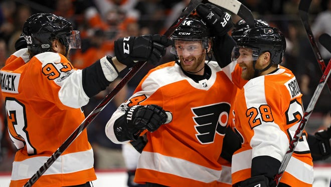 A line of Jake Voracek, Sean Couturier and Claude Giroux have combined for the most even-strength goals in the NHL.
