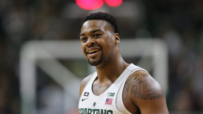 Michigan State's Nick Ward reacts during MSU's 86-57 win on Sunday, Dec. 3, 2017, at Breslin Center.