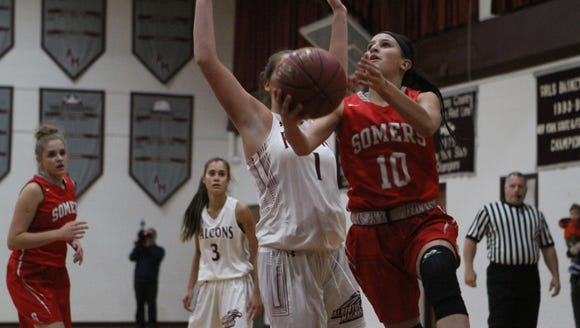 Somers sophomore Dani DiCintio goes up for a layup during a girls basketball game at Albertus Magnus High School in Bardonia on Wednesday, Dec. 6, 2017.