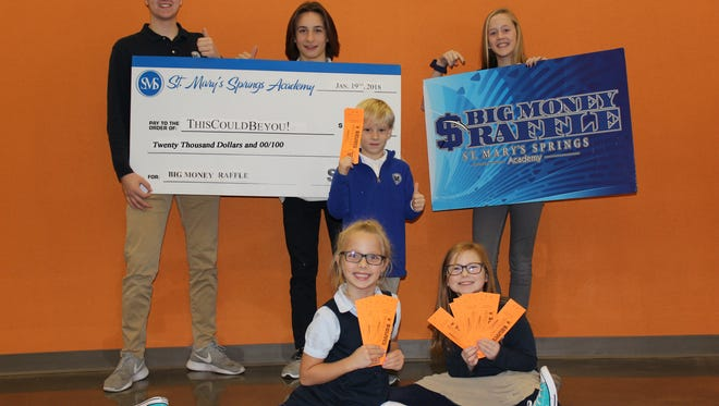 St. Mary's Springs Academy offers the chance to win money in its Big Money Raffle. Pictured are, front row, from left: Havah Fleisner and Maddie Reilley; middle row: Austin Carlson; back row: Aiden Ottery, Noah Pickart and Lexi Kuechenburg.