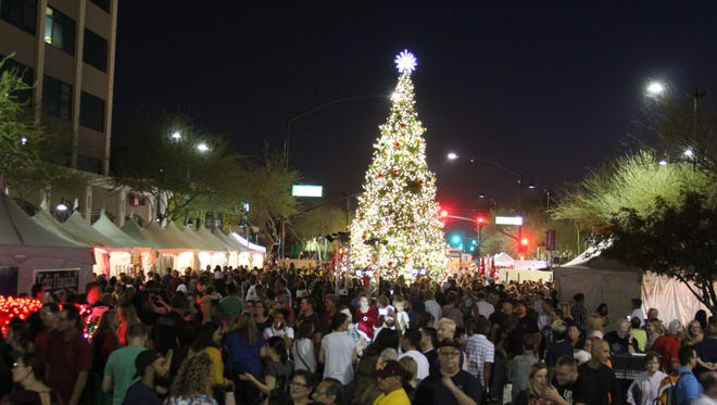 Merry Main Street in Mesa pictured. Mesa's Christmas Tree was destroyed in an early morning fire on Dec. 13.