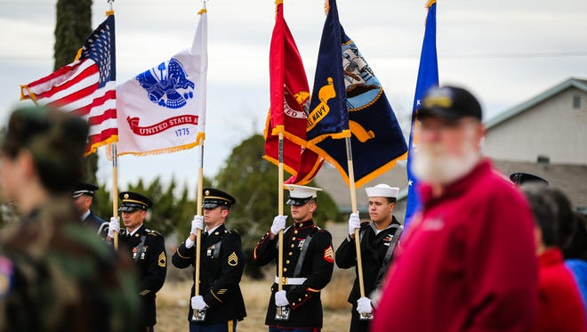 The Goodfellow Air Force Base Color Guard presents colors during the Wreaths Across America ceremony Saturday, Dec. 16, 2017, at Belvedere Memorial Park Cemetery.