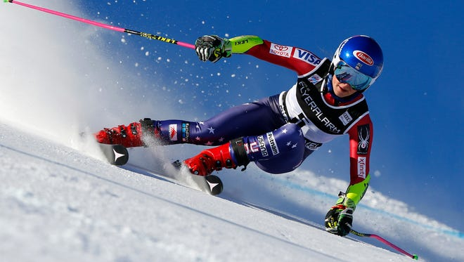 Mikaela Shiffrin in action during the Audi FIS Alpine Ski World Cup Women's Giant Slalom on Dec. 19 in Courchevel, France.