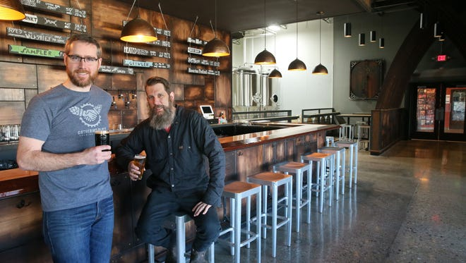 Joe Yeado, left, found of Gathering Place Brewing, and head brewer Corey Blodgett, will have a food hall taproom and pilot brewery system coming in 2021.