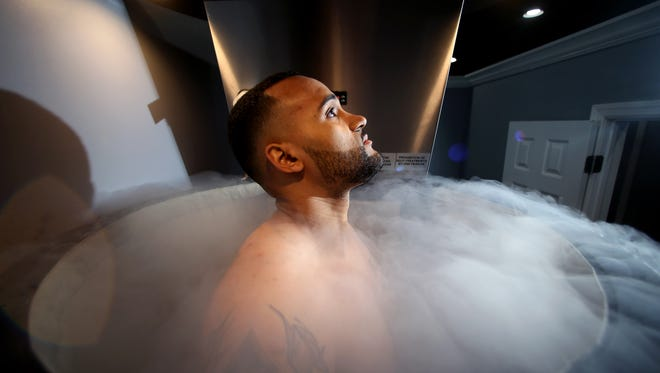 Schussler Ferguson of Wharton gets a treatment at about -256 degrees for three minutes in a whole body cryotherapy sauna at new-age Medi-Spa Below Body Bar, specializing in cryotherapy using cutting-edge subzero temperature treatments for recovery and weight loss. April 7, 2017, Rockaway, NJ