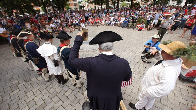 Annual Reading of the Declaration of Independence on the Morristown Green as part of Revolutionary Times 2017. July 4, 2017. Morristown, NJ.