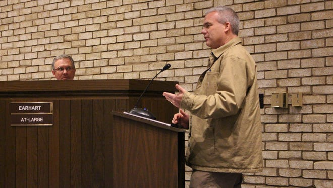 Adena Corporation President Randy Payne, who also is a part of Ontario's Springfield Properties Group, speaks before Ontario City Council on Wednesday, Dec. 20, 2017. Payne told council members about a possible dialysis clinic that would bring 15 new jobs to the area.