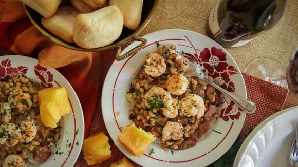 A New Year's Day meal of shrimp and black-eyed peas