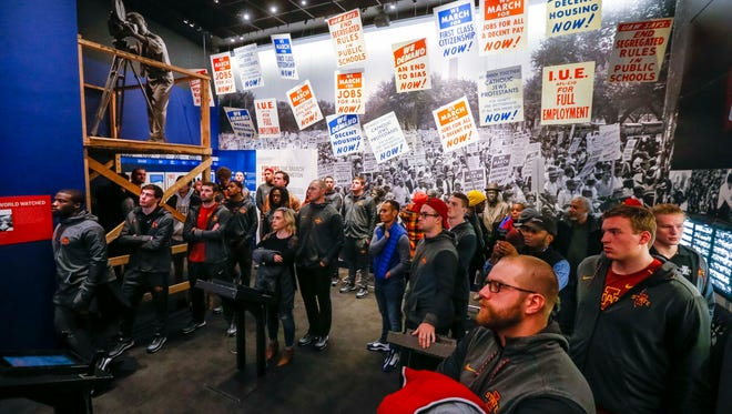 Iowa State players and entourage tour the National Civil Rights Museum, Wednesday, Dec. 27, 2017, in Memphis, Tennessee. Established in 1991, the National Civil Rights Museum is located at the former Lorraine Motel, where civil rights leader Dr. Martin Luther King Jr. was assassinated on April 4, 1968.