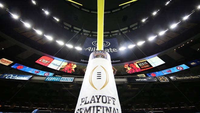 The College Football Playoff logo is seen before the 2018 Sugar Bowl college football playoff semifinal game between the Alabama Crimson Tide and the Clemson Tigers at the Mercedes-Benz Superdome. Mandatory Credit: Kevin Jairaj-USA TODAY Sports