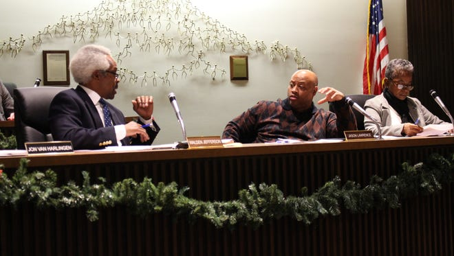 Parks committee members Butch Jefferson, Jason Lawrence and Garnetta Pender, from left, discuss Clearfork Campground rates during a Mansfield City Council meeting Tuesday. The total new rate being considered is $2,390, up from the current $1,250 rate.