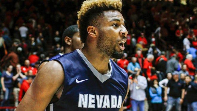 Nevada's Jordan Caroline celebrates his team's win over New Mexico last season.