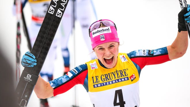 Jessie Diggins of the United States takes third place during the FIS Nordic World Cup women's cross country 9-kilometer race in the Tour de Ski  on Jan.  7 in Val di Fiemme, Italy.