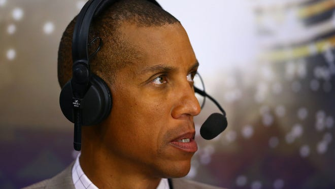 Jan 19, 2015; Phoenix, AZ, USA; TNT tv announcer Reggie Miller during the Phoenix Suns against the Los Angeles Lakers at US Airways Center. The Suns defeated the Lakers 115-100.