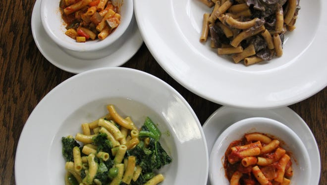 Green, red, mushroom ragout and ratatouille pasta is served at a preview meal for Chickpea, West Salem's gluten-free kitchen. The restaurant uses a high-protein pasta made with chickpea flour.