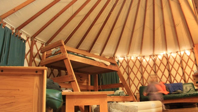 Inside of a deluxe yurt at Umpqua Lighthouse State Park.
