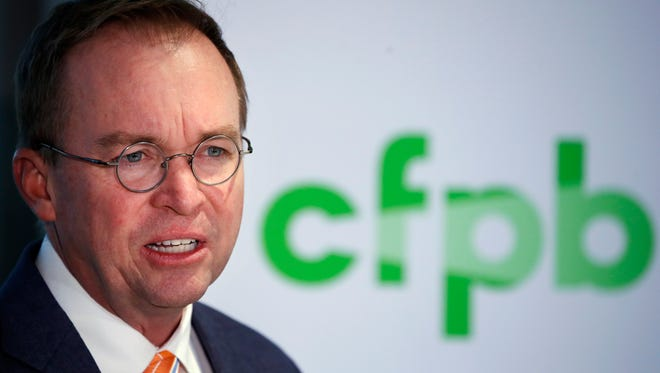 File photo taken in Nov. 2017 shows Mick Mulvaney, the former House member President Trump named as interim director of the Consumer Financial Protection Bureau.