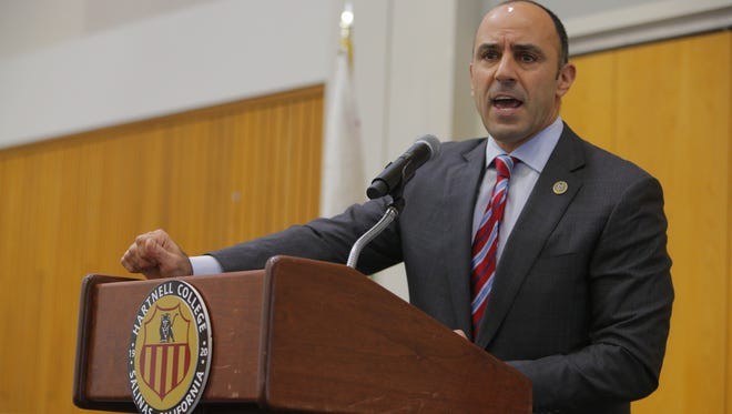 Congressman Jimmy Panetta at Wednesday's press conference at Hartnell College.
