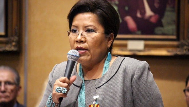 Arizona Sen. Jamescita Peshlakai, a Democrat from the Navajo Nation community of Cameron, addresses a joint Senate and House session during Indian Nations and Tribes Legislative Day Joint on Wednesday, Jan. 11, 2017, in Phoenix.