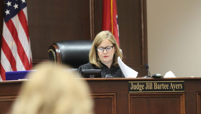 Circuit Court Judge Jill Bartee Ayers presides over a trial. An additional judge is being added in the 19th Judicial District for Montgomery and Robertson counties.