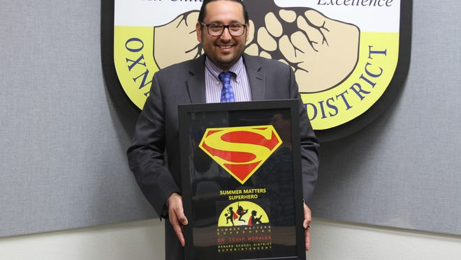 Oxnard School District Superintendent Cesar Morales was awarded the Summer Matters Superhero award for his work on summer programs from students in the district.