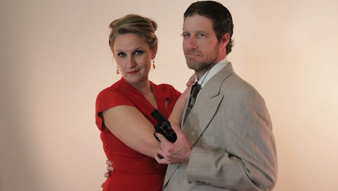 """Corrie Skubal as Julia Farnsworth and Tim Brey as Tony Abbott in The Masquers' production of """"Heaven Can Wait."""""""