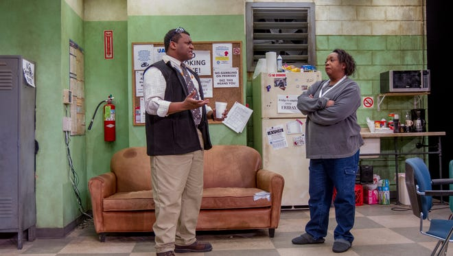 "Autoworker friends Kelvin Roston Jr. and Jacqueline Williams wrestle with bad news in ""Skeleton Crew."""