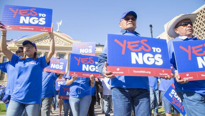 Hundreds of Navajos and Hopis rallied at the Arizona State Capitol on Feb. 6, 2018, in support of keeping open a coal plant near Page. Salt River Project and the other electric companies that run the plant say it is no longer economical and they plan to close before 2020 unless a buyer comes forward.