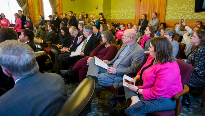 The audience listens to testimony Thursday, Feb. 8, 2018, in Iowa Senate subcommittee meeting on a bill to bannearly all Iowa abortions.