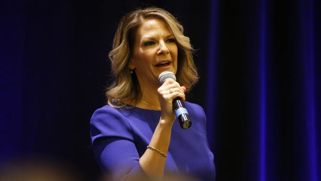 Kelli Ward speaks during a joint rally with Sen. Rand Paul at the Embassy Suites on February 16, 2018 in Scottsdale, Arizona.