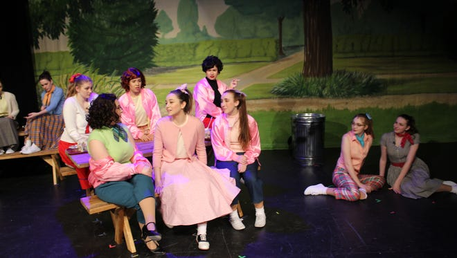"""The Pink Ladies perform during a rehearsal for Franklin's production of """"Grease."""""""