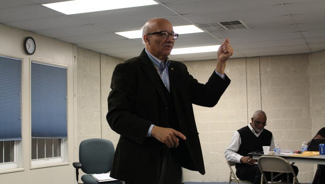 Ohio Conference NAACP President Tom Roberts speaks at a Mansfield NAACP meeting Monday, Feb. 26, 2018. Mansfield NAACP President Geron Tate sits in the background.