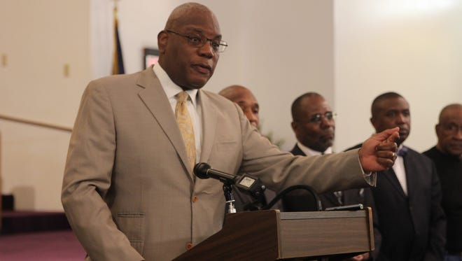 At a Feb. 26 press conference held at the historic Bethel Missionary Baptist Church, National Action Network local chapter president Reverend R.B. Holmes announced a coalition of pastors will march April 26 at the state Capitol for gun control.