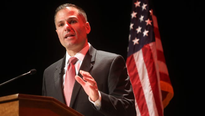 Dutchess County Executive Marc Molinaro delivers his State of the County Address at the Culinary Institute of America in Hyde Park Feb. 28, 2018.