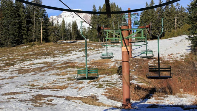 Poor snowpack kept skiers off the slopes at Mount Hood Summit Ski area in 2015.