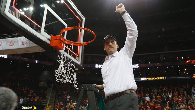 Michael Zamora/The Register Iowa State University coach Steve Prohm holds up a piece of the net Saturday after winning the Big 12 Conference Championship at the Sprint Center in Kansas City, Mo. The Cyclones are a No. 5 seed in the NCAA Tournament. Enter The Des Moines Register?s bracket contest and you could win $1,000,000.