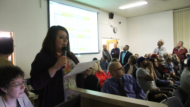 Carlsbad City Clerk Nadine Mireles reads off results from voting precincts of the 2018 Carlsbad mayoral election Tuesday, March 6, 2018
