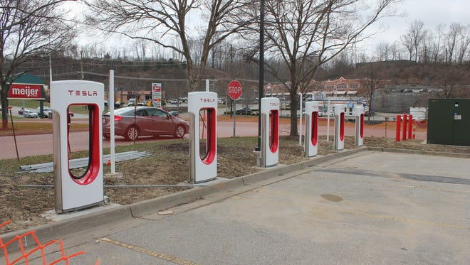 The Tesla supercharger station in Green Township is beginning to take shape.