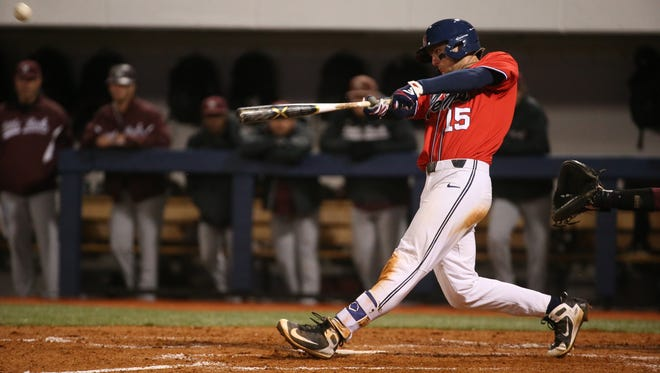 Grae Kessinger  (15) recorded a hit and scored two runs in Ole Miss' 10-2 win over Little Rock Wednesday.