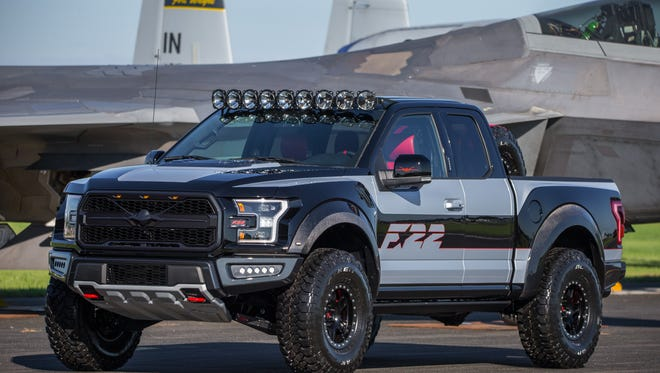 Ford's design team worked with Ford Performance to create a one-of-a-kind F-150 Raptor – inspired by the F-22 fighter jet – for auction which raised $300,000 to benefit an aviation youth program.