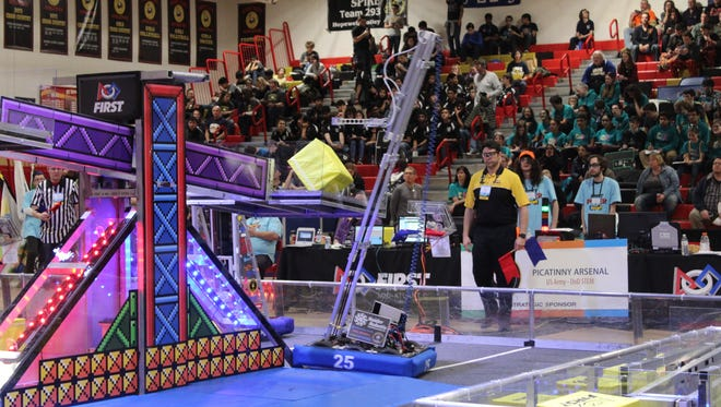 The North Brunswick township's High School FRC Team 25 robot can move quickly, elevate and adjust its tower in order to place anywhere on the playing field, earning the Excellence in Engineering award at a robotics event in Mt. Olive on March 10 and 11.