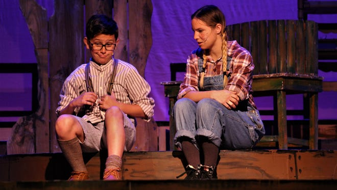 .Blaze Welsh and Tori Hallsten contemplate the next adventure in 'To Kill a Mockingbird.'