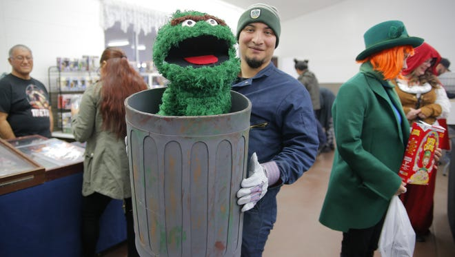 Gabriel Rede and his Oscar the Grouch inspired cosplay at the Salinas Anime-Comic Con Saturday.