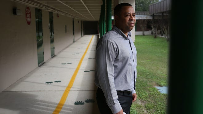 """Riley Elementary Principal Karwynn Paul, shown in this Jan. 2017 photo taken after the school was vandalized, has resigned after being placed on leave   in January 2018 for """"misconduct"""" allegations."""