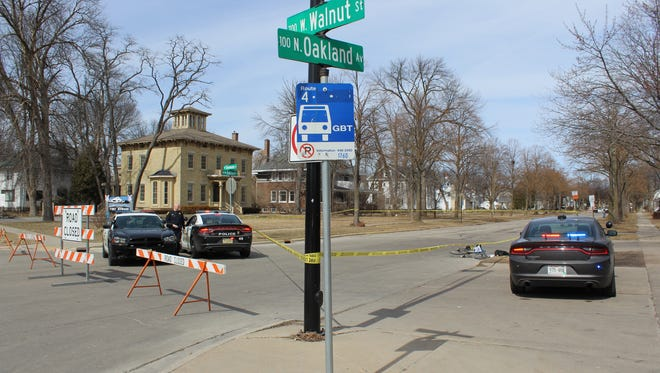 Green Bay police shut down the 100 block of North Oakland Avenue on Sunday, March 25, 2018, after a driver struck a bicyclist and then fled the scene.