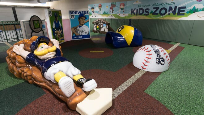 The newly-renovated Aurora Health Care Kids Zone at Miller Park is located on the Terrace Level behind home plate.