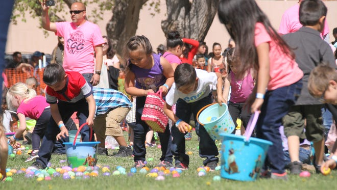 Over 1,000 children were split into five age groups to hunt for over 36,000 Easter Eggs on Saturday during the ninth annual Community-Wide Easter Egg Hunt at Luna County Courthouse Park.